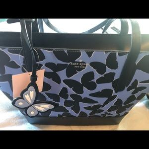 Kate Spade Navy Leather Butterfly Tote NWT